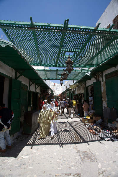 Shaded souk with a lattice canopy, Tetouan medina, Morocco