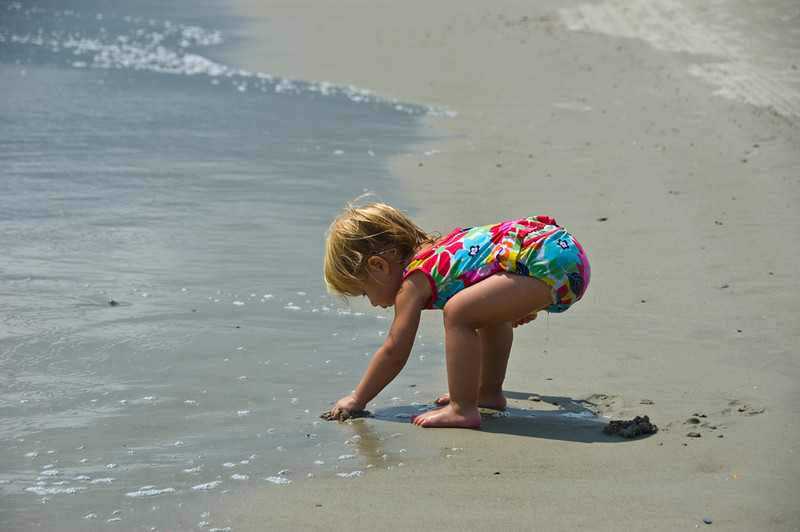 and she stayed busy at the beach every oportunity she got.