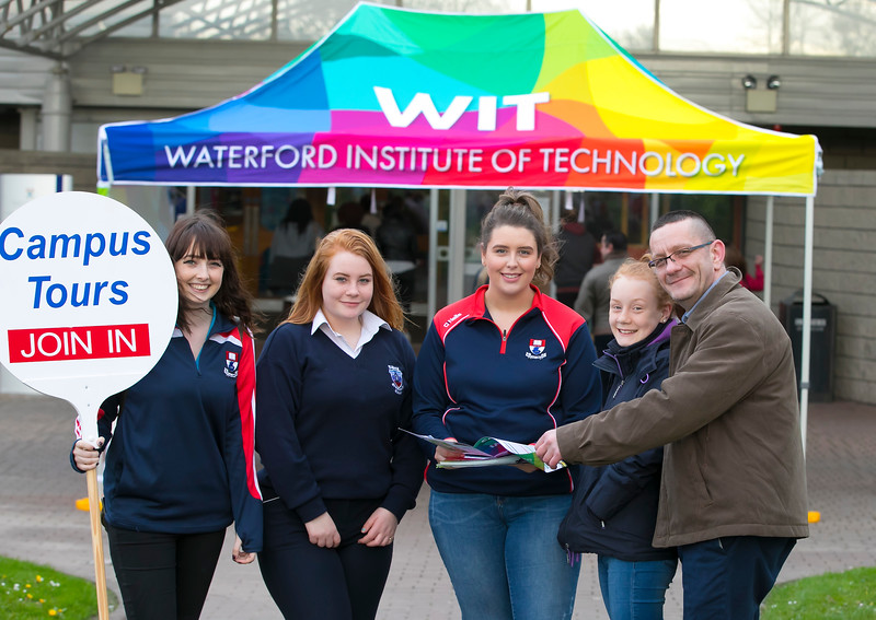 Pictured at the CAO Information Evening at WIT Main Campus are Natalia, Oliwia and Pawel Ritter from Waterford with Emily O'Niell and Niamh Heaney Student Amdassadors. Picture: Patrick Browne  The event gave school leavers, parents, mature students a chance to learn more about areas of study they're interested in and learn about student life at WIT. The evening featured: lecturers were available to talk about specific course information; current students were on hand to talk about their college experiences; fees and grants and student supports information; chance to take a tour of the campus and facilities; book on-campus accommodation.   Elaine Larkin, PR Executive, WIT 051-845577