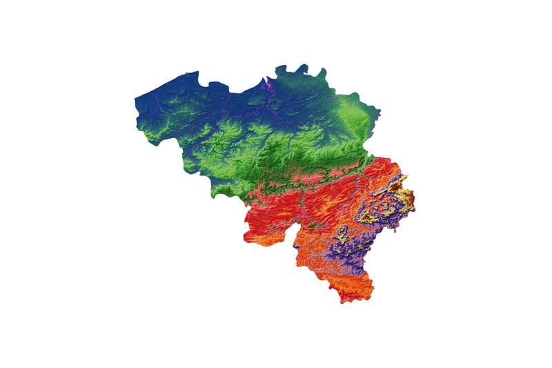 Elevation map of Belgium