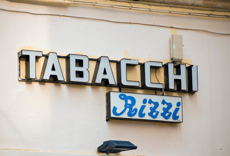 Tobacconist (Tabacchi) Shop Sign, Lecce, Italy