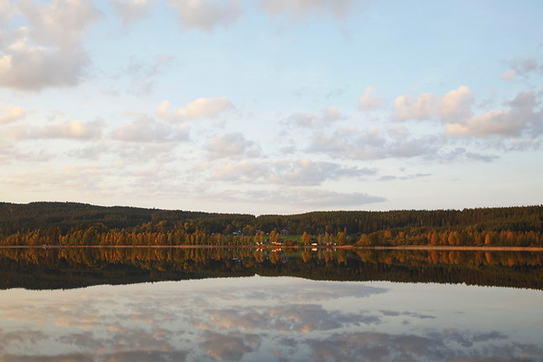 Sunset at a lake in northern Sweden
