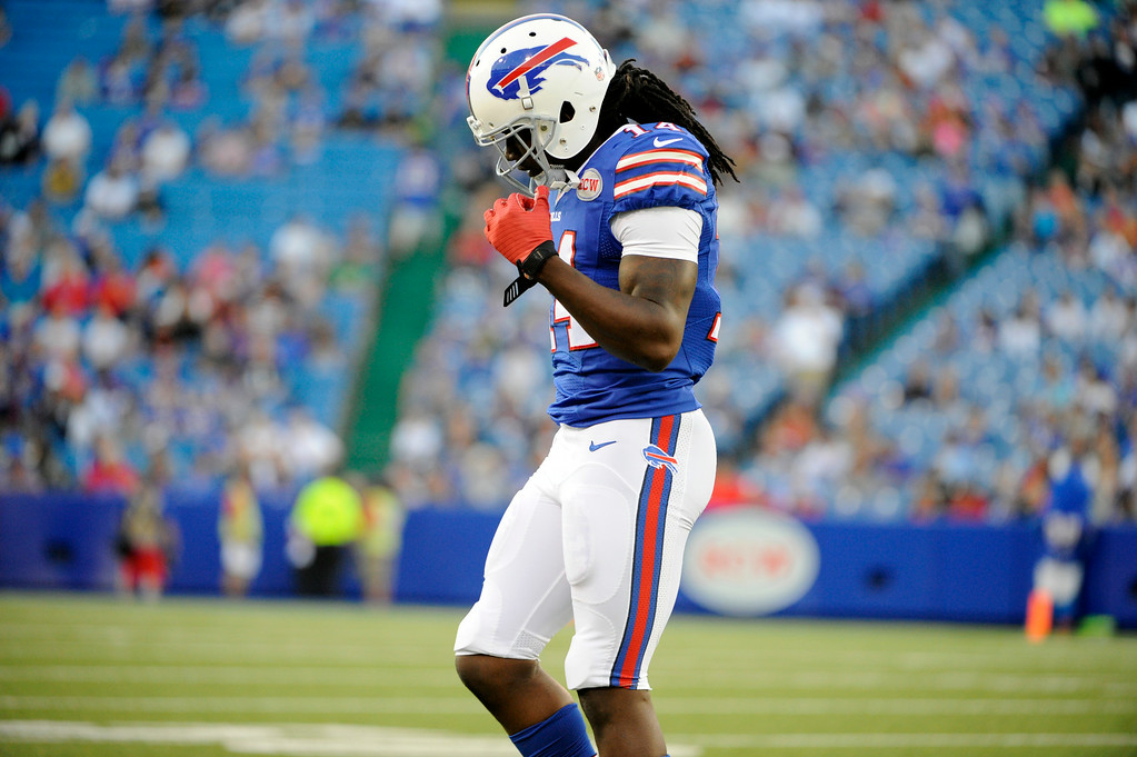 . Buffalo Bills wide receiver Sammy Watkins walks off the field after being hit by Detroit Lions outside linebacker Ashlee Palmer during the first half of a preseason NFL football game, Thursday, Aug. 28, 2014, in Orchard Park, N.Y. (AP Photo/Gary Wiepert)