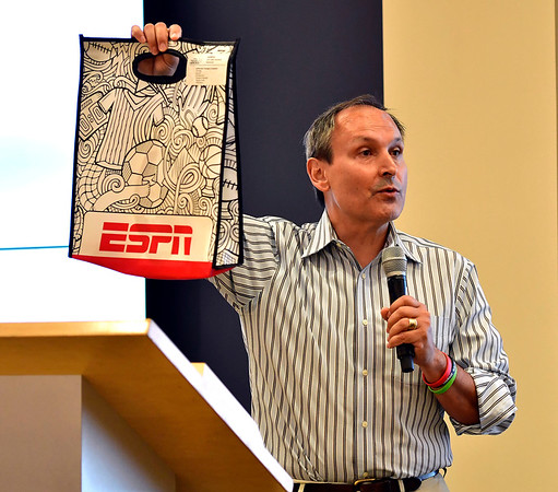6/6/2019 Mike Orazzi | Staff Kevin Martinez, ESPN's vice president of Corporate Citizenship, during the annual Team ESPN Volunteer of the Year Celebration in Bristol.