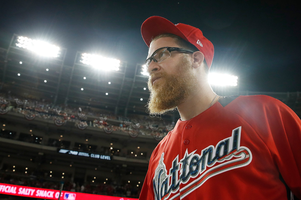 . National League, Washington Nationals pitcher Sean Doolitte (62) walks across the fieldduring the MLB Home Run Derby, at Nationals Park, Monday, July 16, 2018 in Washington. The 89th MLB baseball All-Star Game will be played Tuesday. (AP Photo/Alex Brandon)