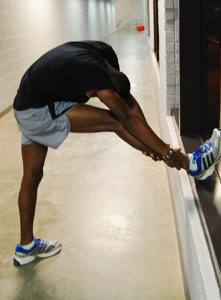 According to Josiah stretching is very important before and after his track meets, even when the muscles are sore.