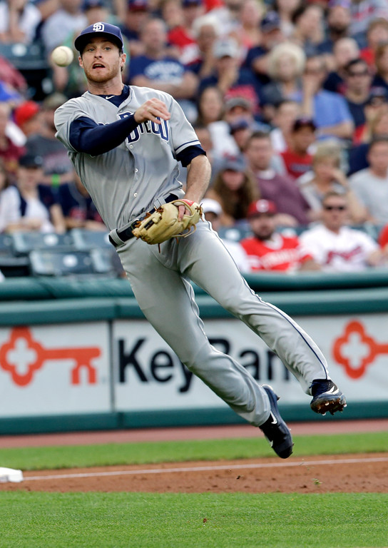. San Diego Padres\' Cory Spangenberg throws to first base to get Cleveland Indians\' Erik Gonzalez in the third inning of a baseball game, Wednesday, July 5, 2017, in Cleveland. Gonzalez advanced to second base due to a throwing error by Spangenberg. (AP Photo/Tony Dejak)