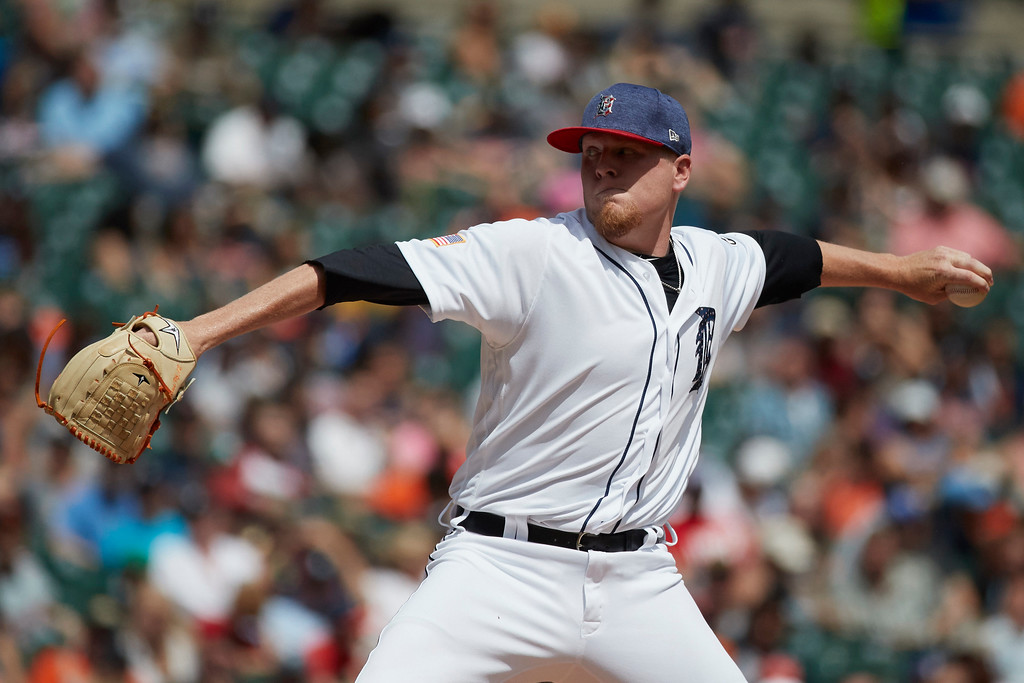 . Detroit Tigers relief pitcher Daniel Stumpf (68) pitches against the Cleveland Indians during the seventh inning in the first baseball game of a doubleheader in Detroit, Saturday, July 1, 2017. (AP Photo/Rick Osentoski)