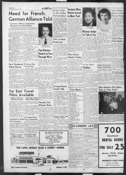 Daily Trojan, Vol. 42, No. 102, April 05, 1951