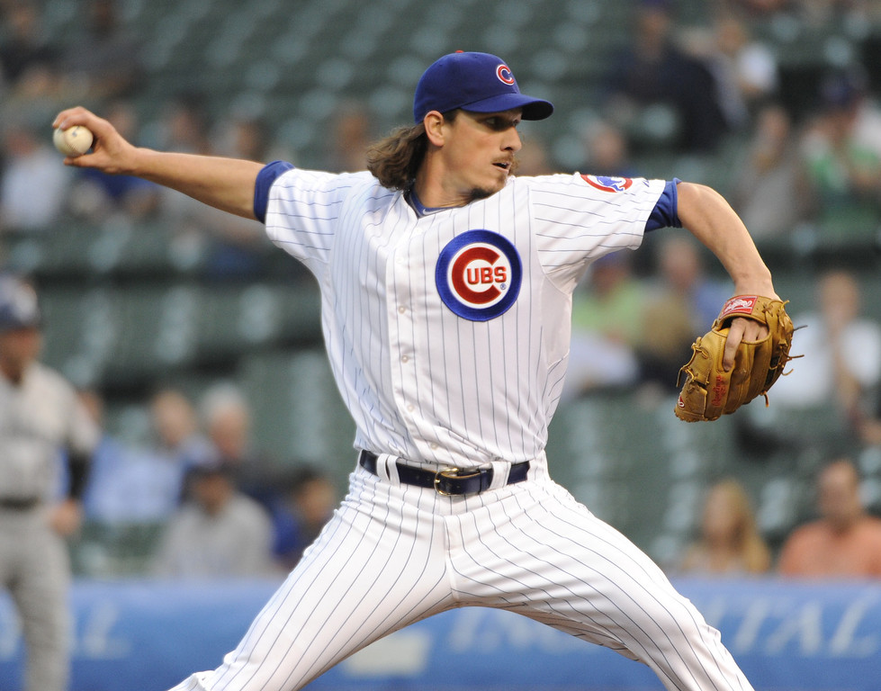 . Jeff Samardzija #29 of the Chicago Cubs pitches against the Colorado Rockies during the first inning on May 15, 2013 at Wrigley Field in Chicago, Illinois.   (Photo by David Banks/Getty Images)