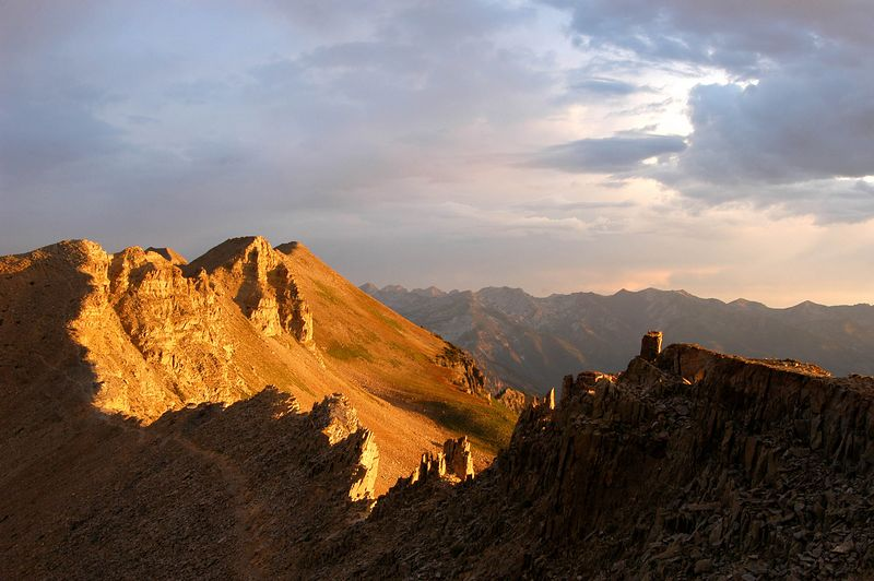We hiked all night long in total darkness to be on top of Mt. Timpanogos by sunrise. We decided to wait at the saddle (bottom left)  for sunrise before taking the 45 minute hike to the summit. I was glad I did. The light was fantastic.