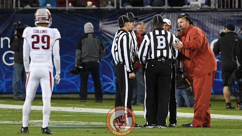 Arkansas head coach Bret Bielema pleads his case to the officials during a lengthy review process. (Michael Shroyer/ TheKeyPlay.com)