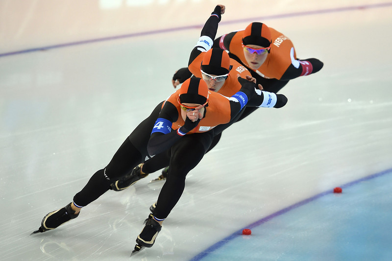 . (From L) Netherlands\' Ireen Wust, Netherlands\' Marrit Leenstra and Netherlands\' Jorien ter Mors compete in the Women\'s Speed Skating Team Pursuit Semifinals at the Adler Arena during the Sochi Winter Olympics on February 22, 2014. (DAMIEN MEYER/AFP/Getty Images)