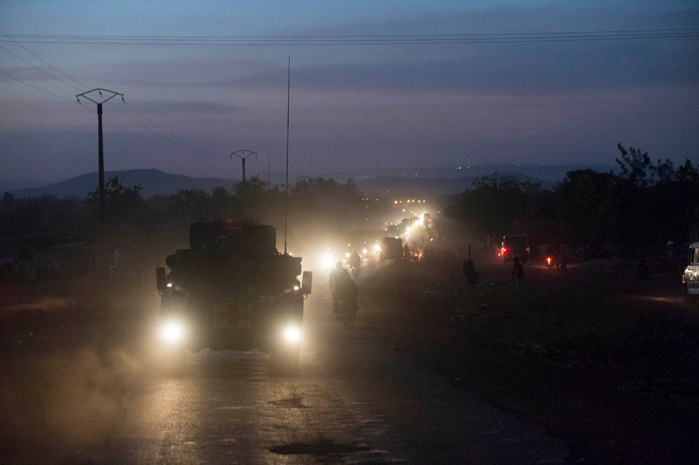 Description of . French armoured vehicles make their way on a road north of Bamako in this photo provided by the French Army on January 16, 2013. French troops launched their first ground assault against Islamist rebels in Mali on Wednesday in a broadening of their operation against battle-hardened al Qaeda-linked fighters who have resisted six days of air strikes. REUTERS/ECPAD/Arnaud Roine/Handout