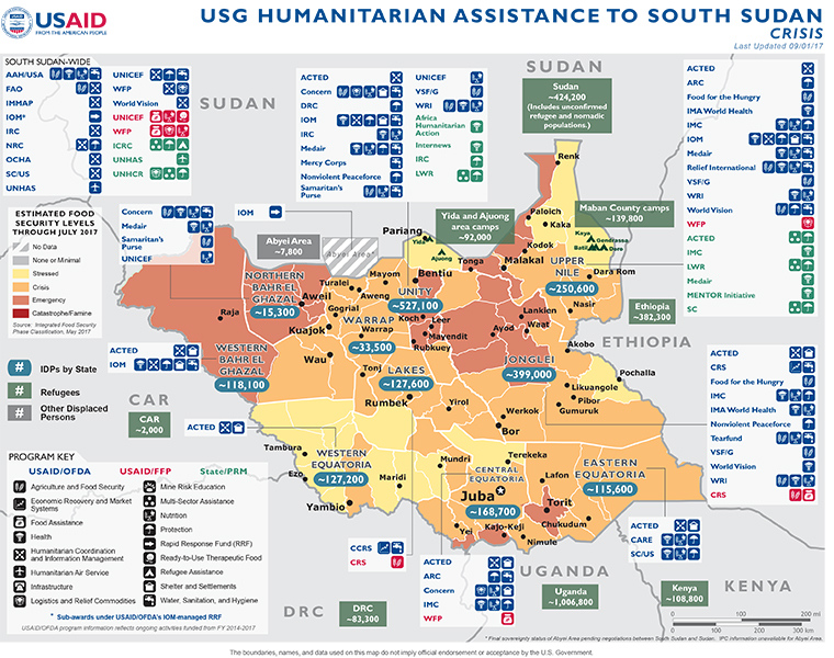 09.01.17 - USG Humanitarian Assistance to South Sudan - Crisis - Map