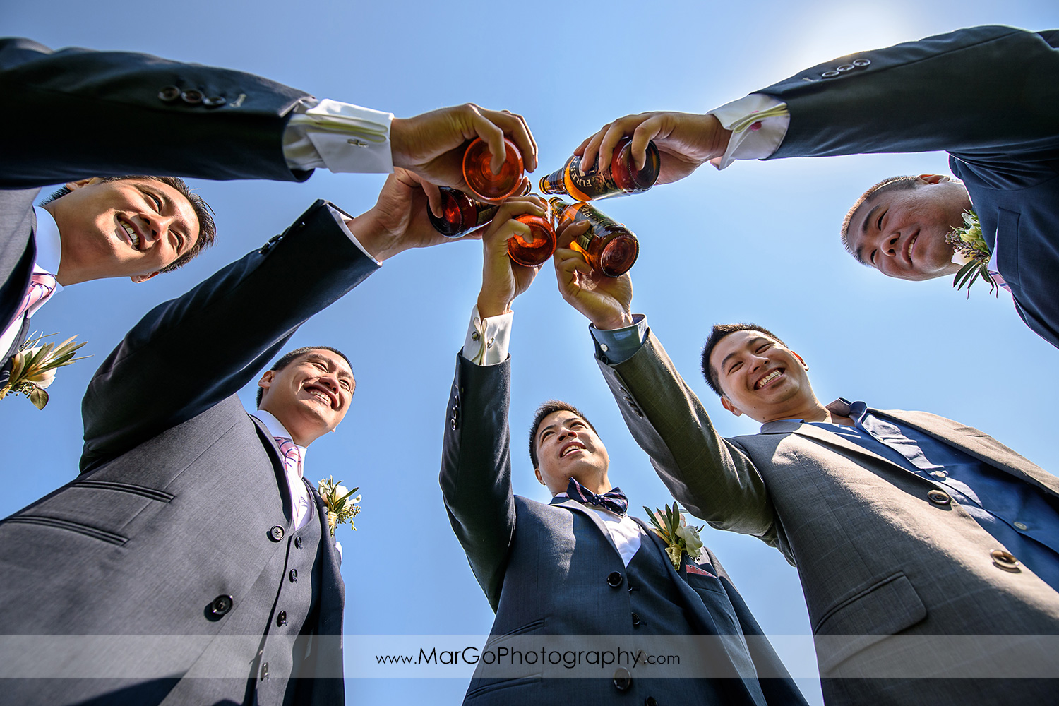 groom with groomsmen at the University of California, Santa Cruz