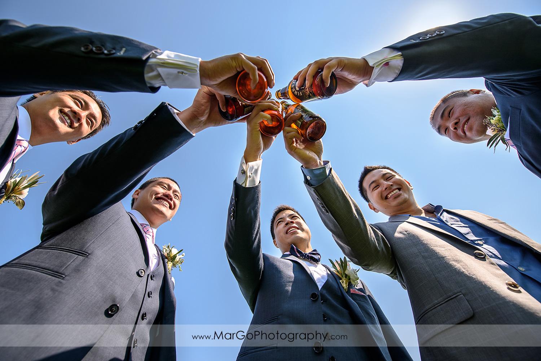groom with groomsmen at the University of California, Santa Cruz
