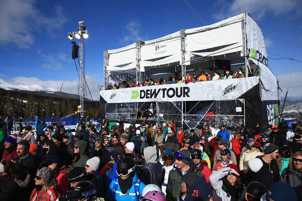 . Fans spectate from the base of the halfpipe during the women\'s snowboard superpipe final at the Dew Tour iON Mountain Championships on December 14, 2013 in Breckenridge, Colorado.  (Photo by Doug Pensinger/Getty Images)