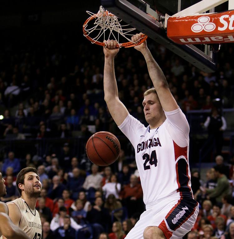 . Przemek Karnowski (24) dunks during an NCAA basketball game against Oakland, in Spokane, Wash., on Sunday, Nov. 17, 2013. (AP Photo/Young Kwak)