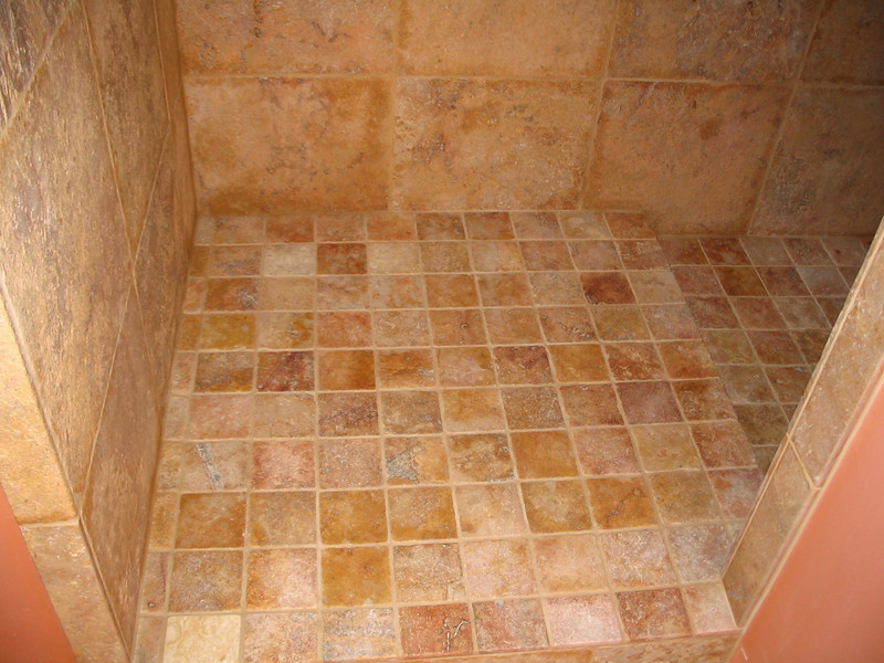 Travertine shower in the master bath; this is the floor.