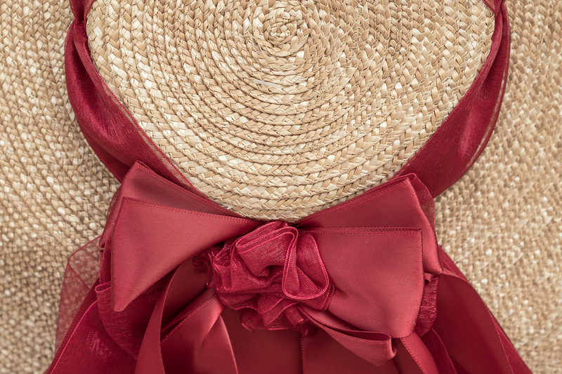 18th Century Style Colonial Hat and Ribbon detail in red