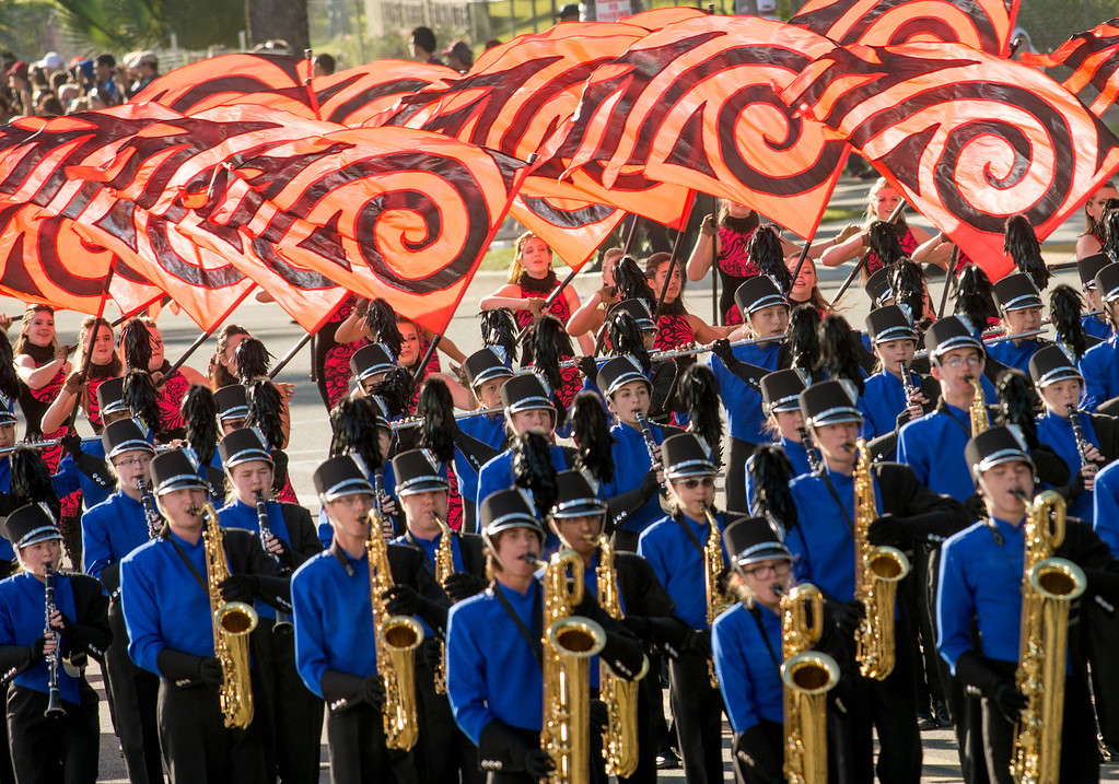 . Carmel High School Marching Greyhounds during 2014 Rose Parade in Pasadena, Calif. on January 1, 2014. (Staff photo by Leo Jarzomb/ Pasadena Star-News)