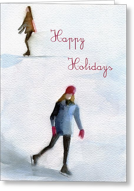 Ice Skaters Holiday Card by Artist Beverly Brown