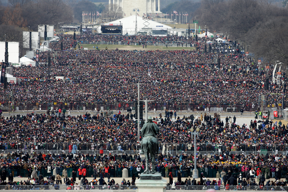 . People gather for the presidential inauguration on the West Front of the U.S. Capitol January 21, 2013 in Washington, DC.   Barack Obama was re-elected for a second term as President of the United States.  (Photo by Rob Carr/Getty Images)