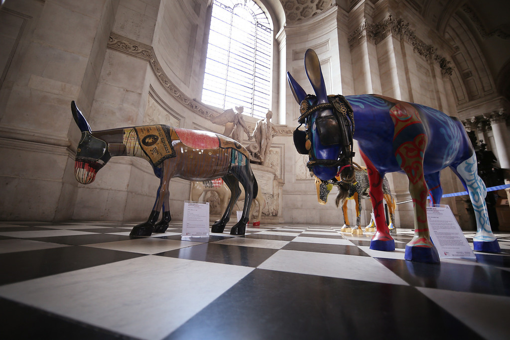 . Artist painted donkey statues are displayed in the \'Caravan\' exhibition on August 30, 2013 in London, England.   (Photo by Peter Macdiarmid/Getty Images)