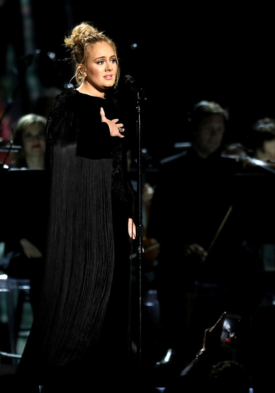 . Adele apologizes before restarting a performance tribute to George Michael at the 59th annual Grammy Awards on Sunday, Feb. 12, 2017, in Los Angeles. (Photo by Matt Sayles/Invision/AP)