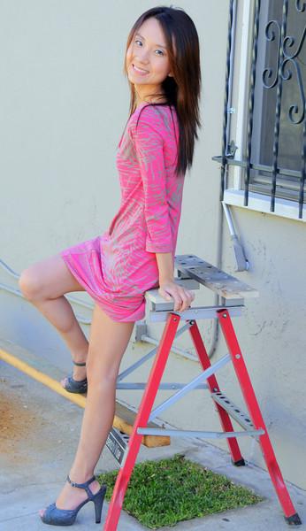 beautiful woman model red dress 117..