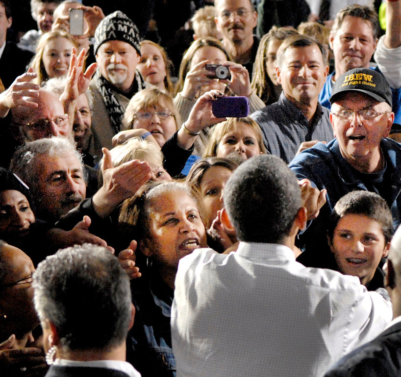 . President Barack Obama greets supporters after his speech at Mentor High School in November 2012. (News-Herald file)