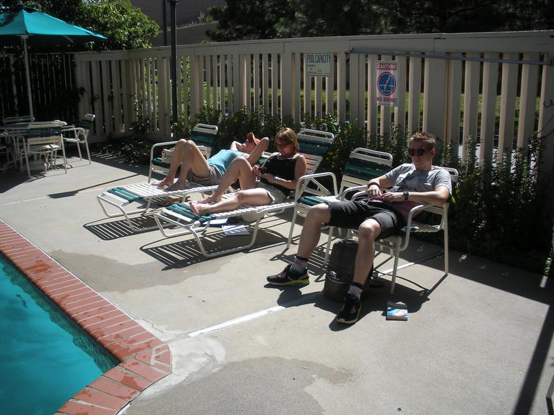 Enjoying some Denver Colorado sunshine by the pool.