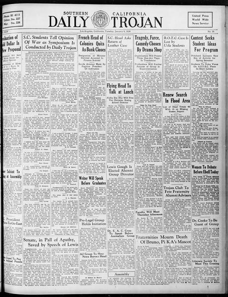 Daily Trojan, Vol. 25, No. 59, January 09, 1934