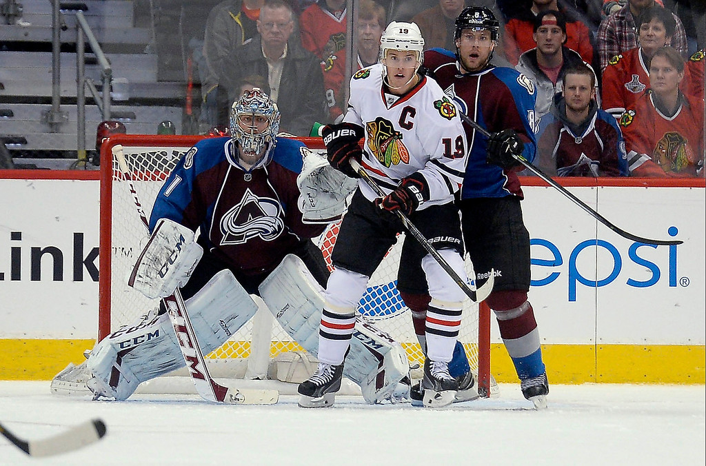 . Colorado Avalanche goalie Semyon Varlamov (1) in goal during gthe third period as Chicago Blackhawks center Jonathan Toews (19) stand in front with Colorado Avalanche defenseman Jan Hejda (8) November 19, 2013 at Pepsi Center. Colorado Avalanche defeated Chicago Blackhawks 5-1.  (Photo by John Leyba/The Denver Post)