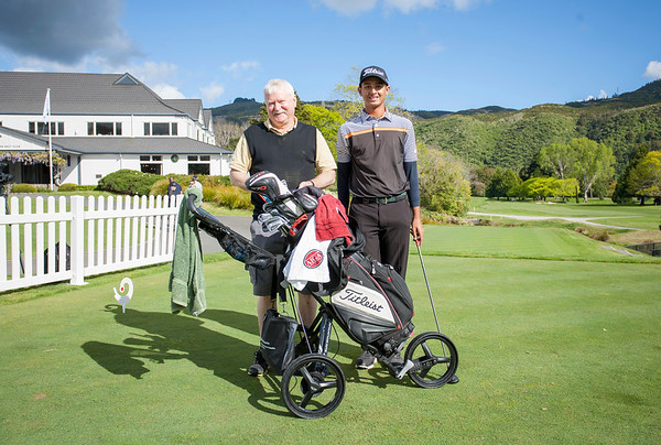 Kshitij Naveed Kaul  from India with caddy Alex Kirk on Practice Day 1 of the Asia-Pacific Amateur Championship tournament 2017 held at Royal Wellington Golf Club, in Heretaunga, Upper Hutt, New Zealand from 26 - 29 October 2017. Copyright John Mathews 2017.   www.megasportmedia.co.nz