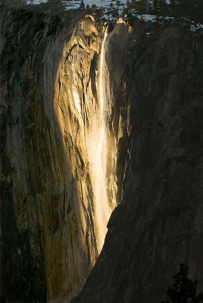 "During the last two days of February each year, the setting sun lights Horsetail Fall, located on the east buttress of El Capitan, producing a spectacular ""firefall""."