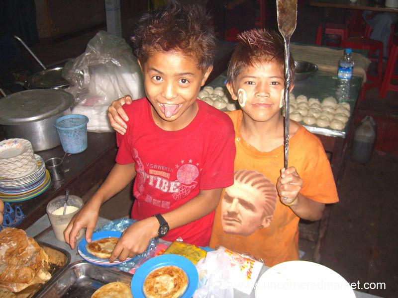 Two Burmese Boys Preparing Roti - Bago, Burma
