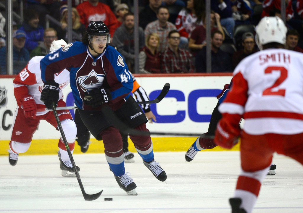 . DENVER, CO - February 5: Colorado Avalanche right wing Dennis Everberg (45) looks for an open lane during the third period Thursday, February 5, 2015 at the Pepsi Center in Denver, Colorado. The Avalanche lost 3-0 to the Red Wings. (Photo By Brent Lewis/The Denver Post)