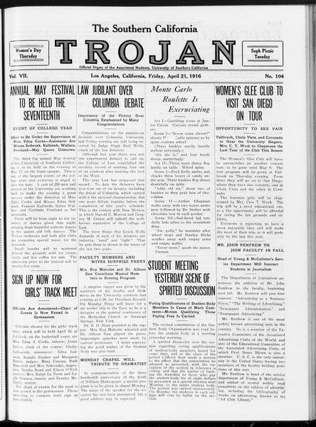 The Southern California Trojan, Vol. 7, No. 104, April 21, 1916