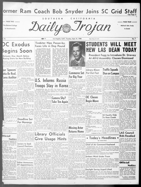 Daily Trojan, Vol. 40, No. 7, September 21, 1948