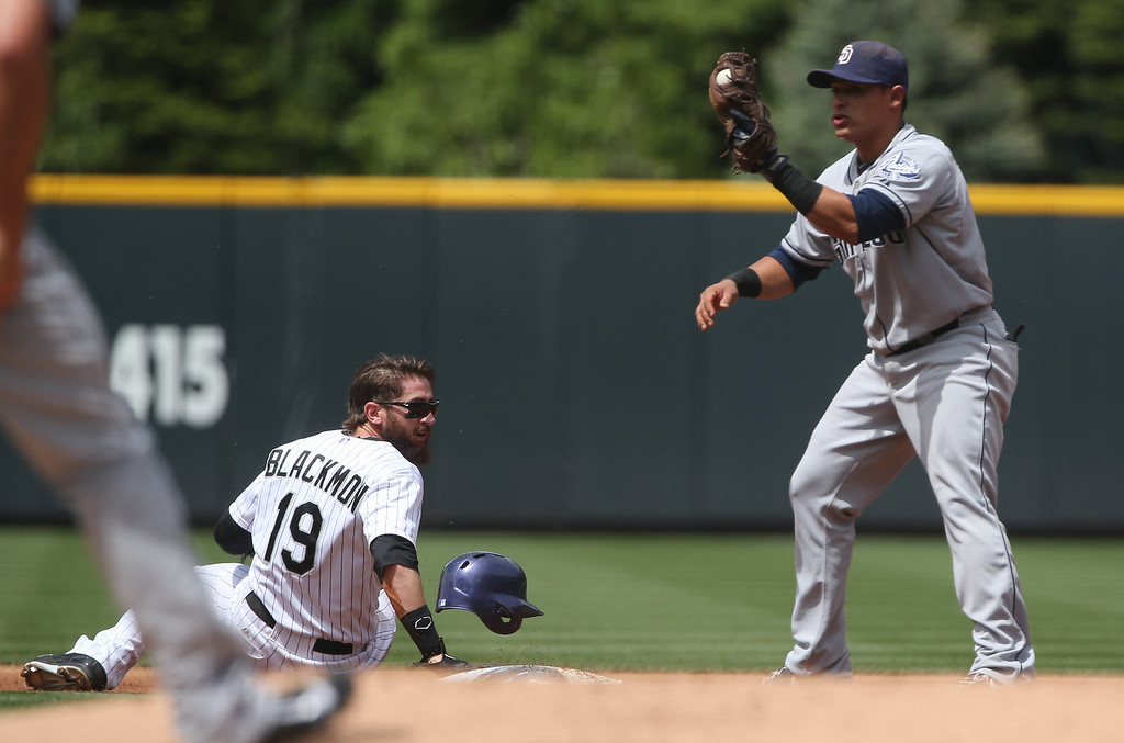 . San Diego Padres shortstop Everth Cabrera, right, holds up ball in his glove to show he tagged out Colorado Rockies\' Charlie Blackmon as he tried to steal second base in the first inning of a baseball game in Denver on Sunday, May 18, 2014. (AP Photo/David Zalubowski)