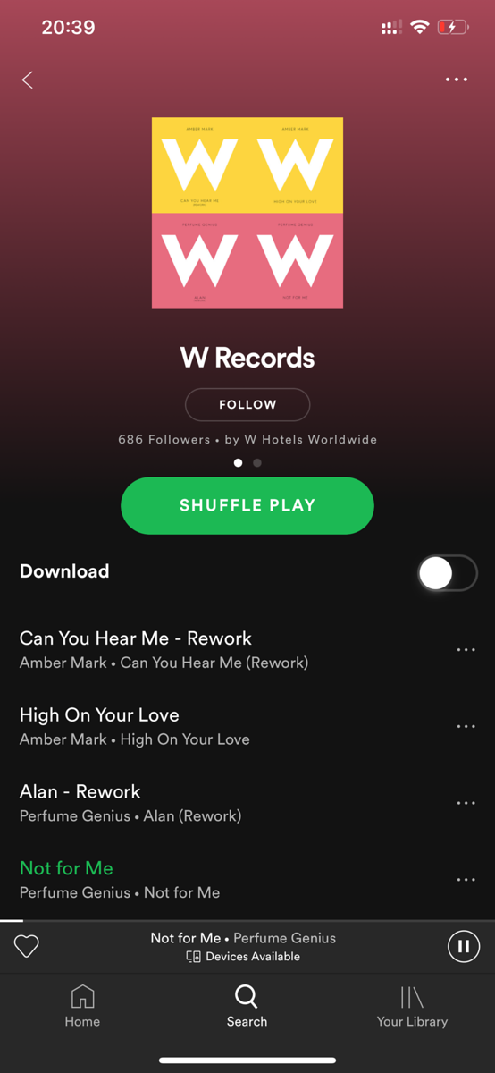 W Hotel Sentosa Cove Spotify Playlist