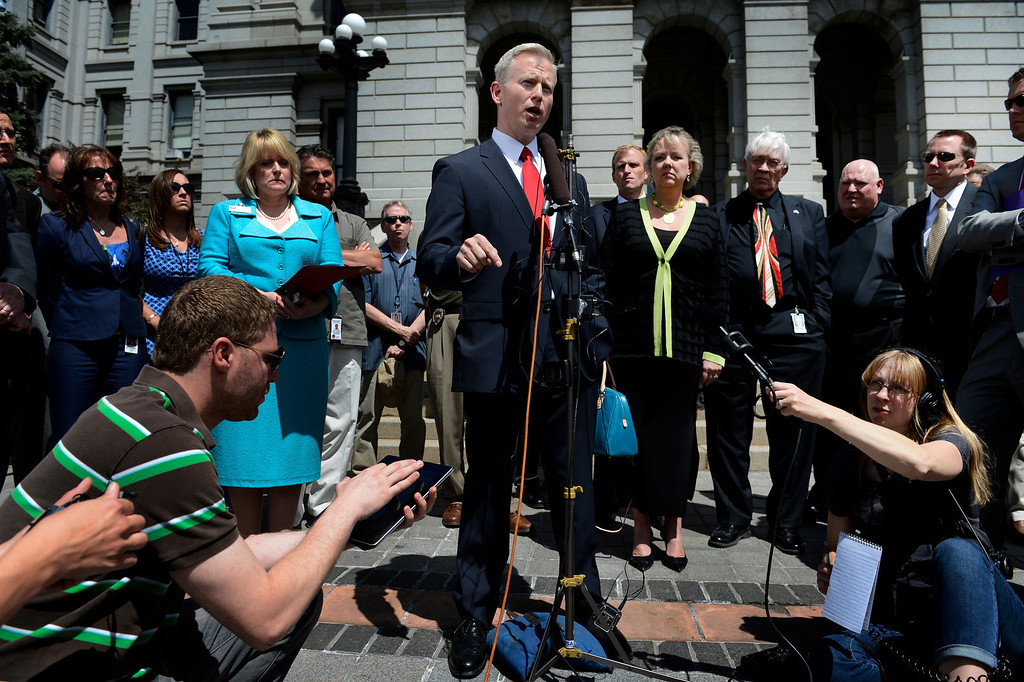 . DENVER, CO. - MAY 21: George Brauchler, district attorney for the 18th Judicual District, comments about Colorado governor John Hickenlooper\'s decision to grant death penalty inmate Nathan Dunlap a temporary reprieve on the steps of the Colorado Capitol Building, May 22, 2013. (Photo By Craig F. Walker/The Denver Post)