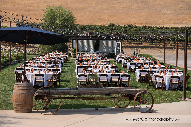 wedding recetpion outdoor tables at Taber Ranch Vineyards