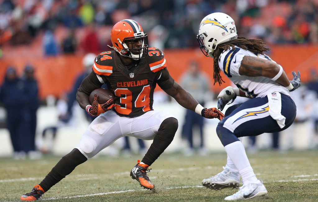 . Cleveland Browns running back Isaiah Crowell (34) tries to get past San Diego Chargers free safety Dwight Lowery (20) in the second half of an NFL football game, Saturday, Dec. 24, 2016, in Cleveland. (AP Photo/Aaron Josefczyk)