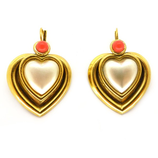 VINTAGE FRENCH ZOE COSTE FAUX PEARL HEART CORAL GLASS EARRINGS