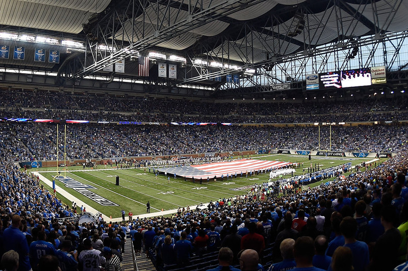 . Overview of pre-game ceremonies before a game between the New York Giants and the Detroit Lions at Ford Field on September 8, 2014 in Detroit, Michigan.  (Photo by Joe Sargent/Getty Images)