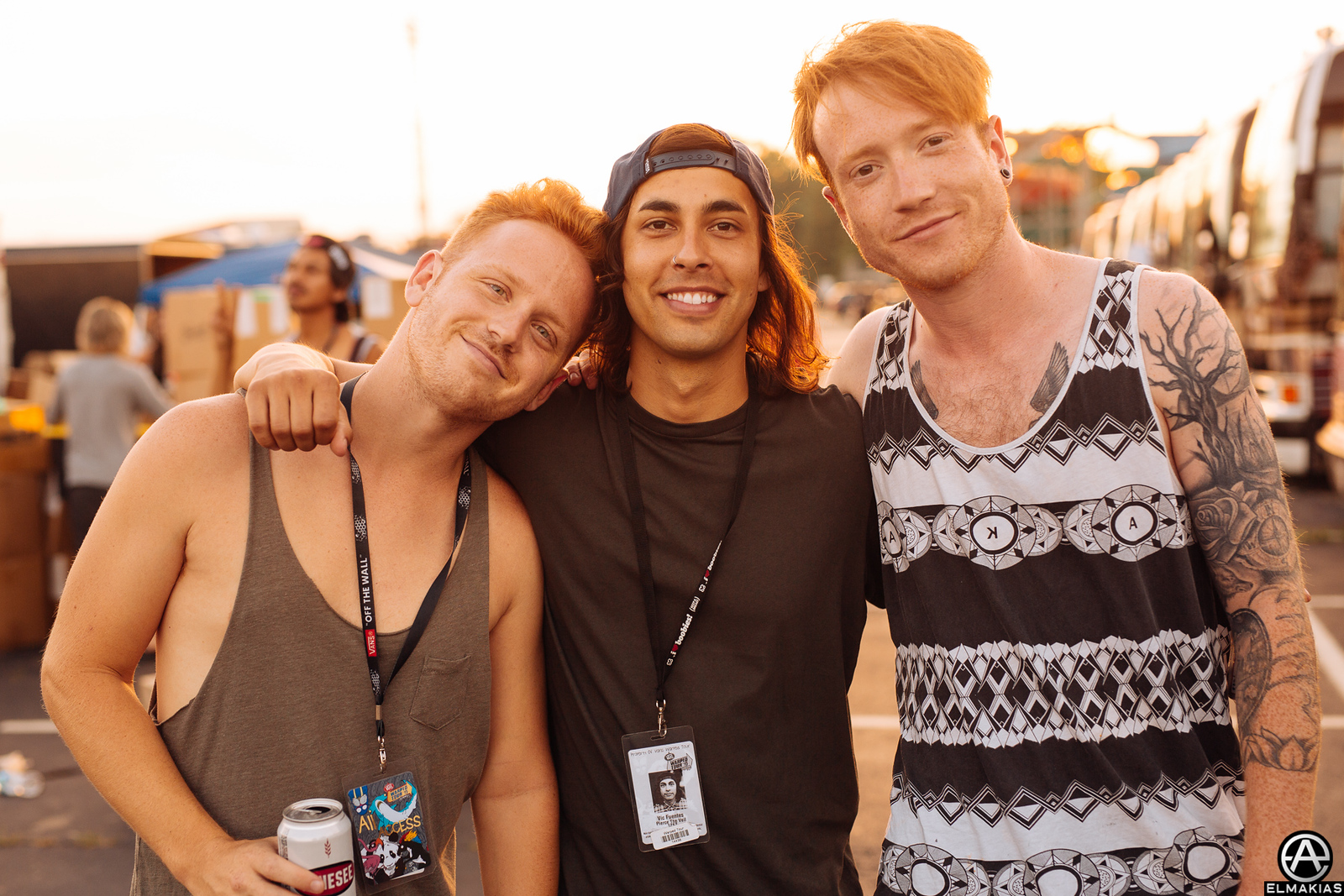 Eric Lambert of Blessthefall,Vic Fuentes, Mikey Chapman of Mallory Knox at Warped Tour 2015 by Adam Elmakias