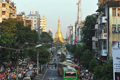 Sule Pagoda from Mahabandoola Road, Yangon